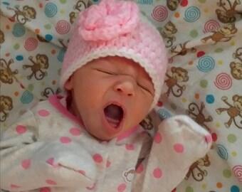 Baby Girl Hat, Set of 3 Baby Hats, Crochet Beanie Hat,Crochet Flower Hat, Crochet Baby Hat, Sizes 0-12 Months