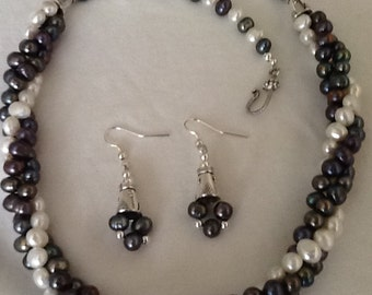 Elegantly Casual and Chic Fresh Water Pearls and Sterling Silver Necklace with Matching Earrings