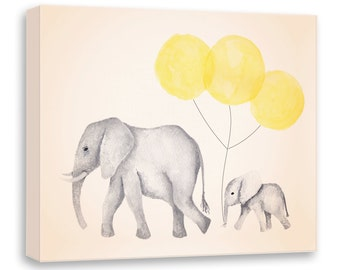 Yellow and Gray - Nursery Art - Canvas Art - Art for Children - Watercolor Elephant - Mom and Baby Elephants - Elephant with Balloon - E613