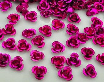 100X 6mm Rose Aluminum Rose Flower Beads.