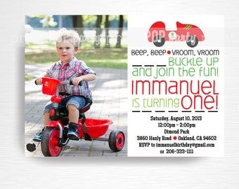 Racecar Printable Photo Invitation Red Green Black