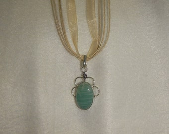 PAY IT FORWARD -  Amazonite pendant necklace set in .925 sterling silver (P057)