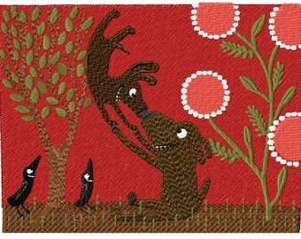 2 Happy Dogs Machine Embroidery Design