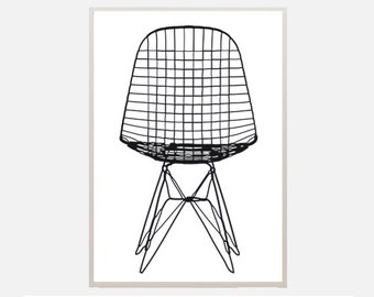 "Poster download ""wire chair"" eames dkr vitra interior design illustration graphic office living room home decor classic"