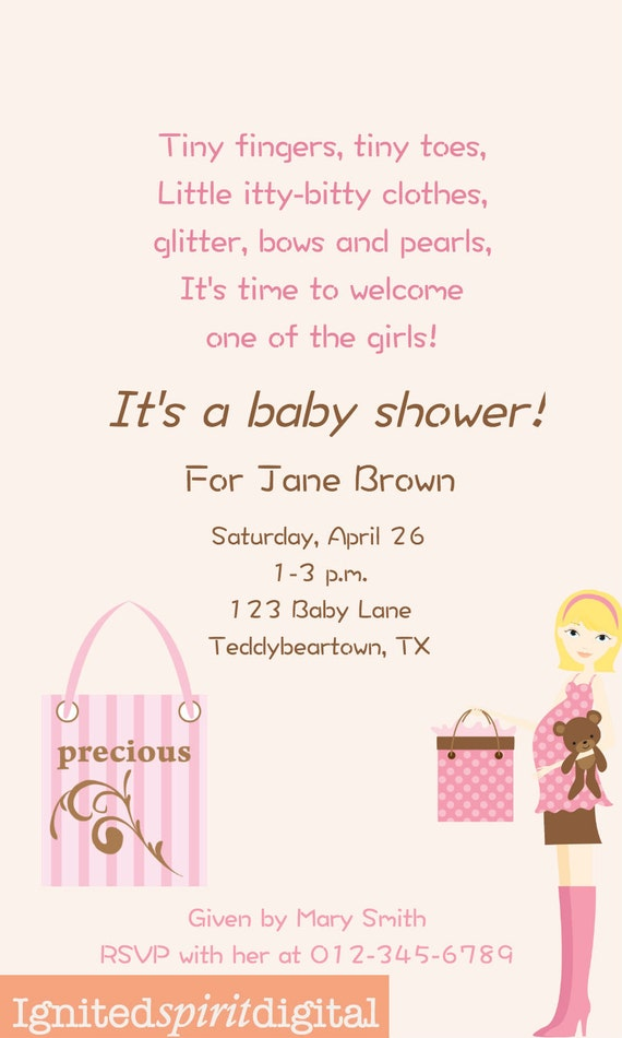 Items similar to baby girl rhyme poem baby shower invitation personalized digital download on Etsy