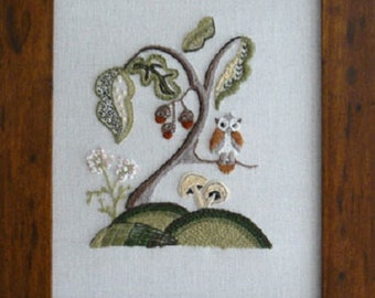 CW 415 Woodland Owl Starter Crewel Embroidery Kit