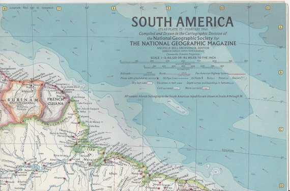 Vintage 1960 south america national geographic magazine map like this item gumiabroncs Gallery