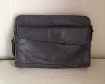 Vintage Grey Leather Purse / Shoulder Bag / Crossbody / Clutch / Button Closure / Clasp Button / Removable Straps