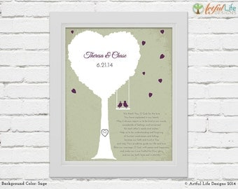 Custom Wedding Print, Personalized Wedding Prayer Wall Art, Love Birds, Tree Art Print, Religious Wedding gift, choose size, color