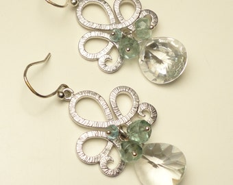 Crystal Quartz Concave Cut Briolettes, Moss Green Aquamarine and Apatite Rondell Earrings. Sterling Ear Wires and Headpins. Chandelier-Green