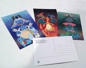SALE! Original Pokemon Charley Harper-Inspired Artwork Postcards: Gen I Starters
