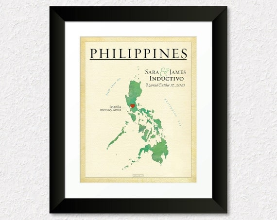 ... , Gift for Couple, Philippines Travel Map, Travel Gift, Fiance Gift