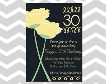 30th Birthday Party Invitation/Card Thirtieth Birthday Invitation/Card