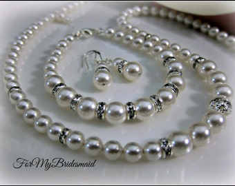 Bridal Pearl Jewelry Set. Pearl Necklace Bracelet Set .Cream Jewellery set.