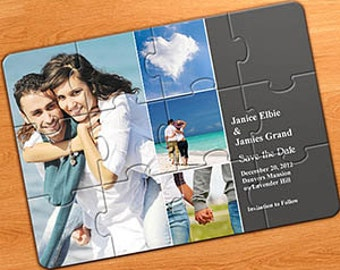 Invitation photo jigsaw puzzle in 12 parts