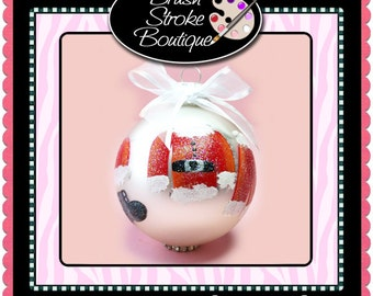 Santa Suit Ornament - Hand Painted Glass Ball Ornament - Baby's Birth or Birthday or Christmas - Can Be Personalized
