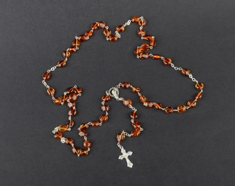 Natural Baltic Amber Catholic Rosary in Cognac Color