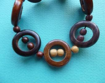 Hippie Bangle Bracelet Tribal Wood Stretch Bracelet 1980's
