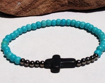 FREE SHIPPING-Mens Bracellet,Mens Turquoise Bracelet,Mens Hematite Bracelet,Mens Cross Bracelet,Mens Beaded Bracelet,Bracelets For Men,