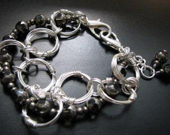 Futuristic Rings  Wire wrapped bracelet  Modern bracelet