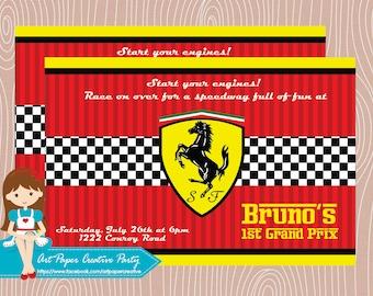 10 Ferrari birthday invitation. Choose between printable or printed.
