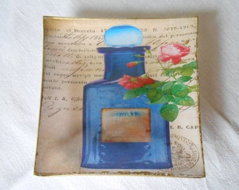 Decorative plate. Perfume I Decoupage glass dish.