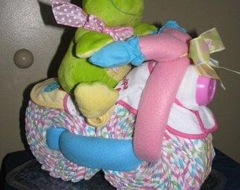 "NEW !!!   ""Mz.Ribitz and her Ride"" Diaper Cake (Girl's)"