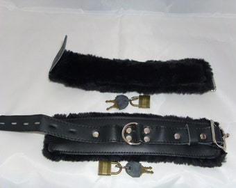 Bondage Leather Fur Lined Wrist/Ankle Cuffs/Restraints