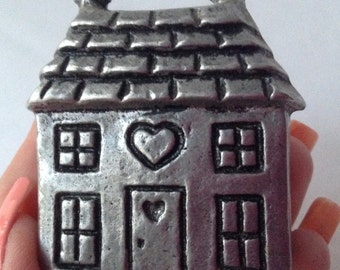 Little Pewter Two Story House Mini Candle Holder