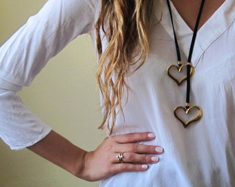 Long Necklace - Leather Necklace - Black Necklace - Statement Necklace - Heart Necklace - Statement Jewelry - Leather Jewelry