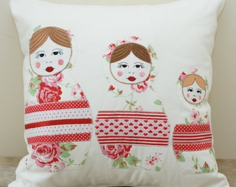 Personalized Appliqued and Embroidered Cushion Cover. Decorative pillow cover.Gift.Matryoshka.Babushka Pillow case.Handmade pillow.