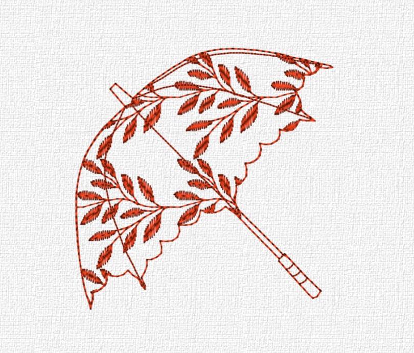 Umbrella redwork machine embroidery design by katieldesigns