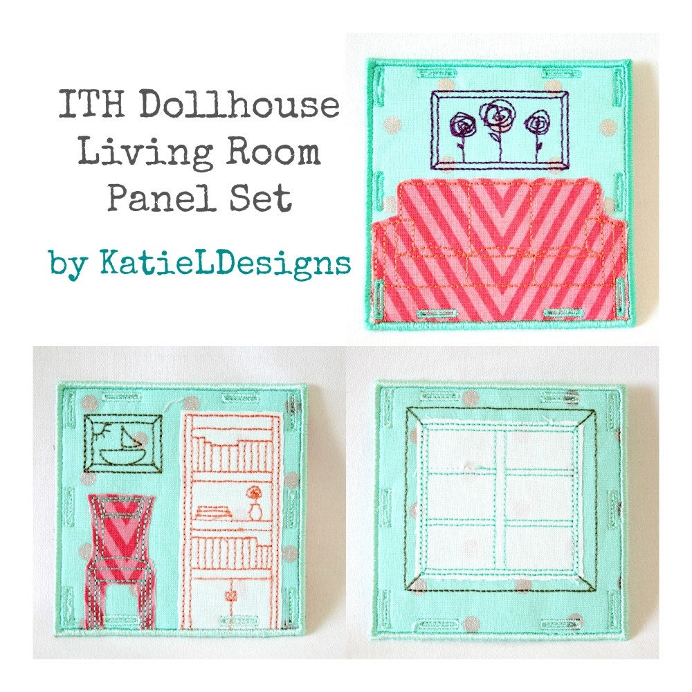 In the hoop dollhouse living room set machine embroidery for Living room 4x4