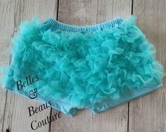 Aqua - Petti Chiffon Shorts - Baby Shorts - Girls Shorts - Petti Shorts - Ruffle Shorts - Chiffon Shorts - Bloomers - Shorties - Frozen