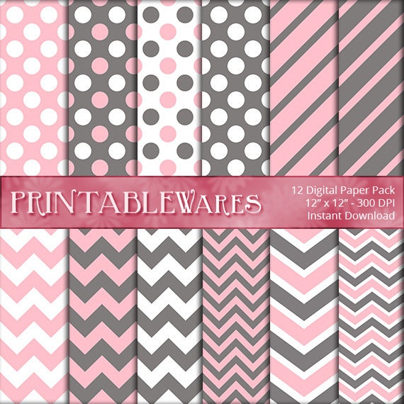 items similar to pink gray baby shower digital paper pack birthday decor chevron commercial use printable 12x12 scrapbook backgrounds instant download