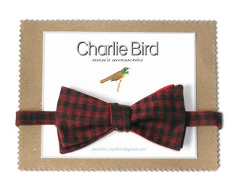 Bow tie - checked bow tie with red