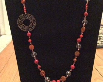 Long Copper and Burnt Orange Necklace