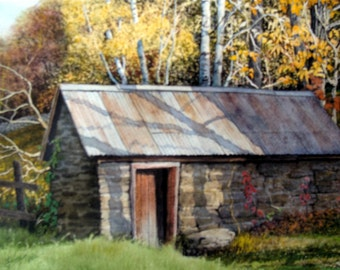 Swamp Road Spring House, Original Watercolor Painting, 10 3/4 inches x 8 inches