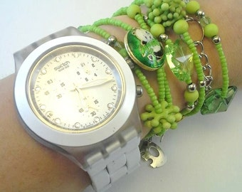 Mixedmedia Bracelet - can be used as necklace - Green