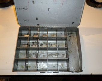 Vintage metal storage box little compartments storage container with handle
