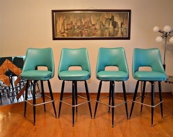 Retro Mid Century Teal Upholstered Bar Stools With Backs