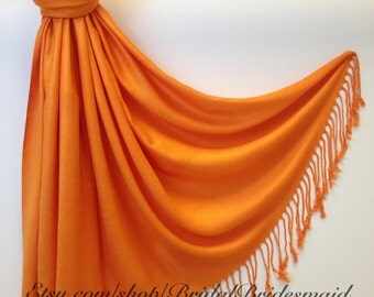 ORANGE SCARF - orange pashmina shawl - bridal scarf - bridal shawl - bridesmaid gift - wedding gift - scarf - shawl - gift -