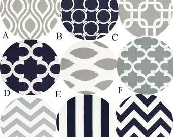 Nursery Bedding Crib Bedding Baby Bedding Gray and Navy Choose your fabrics