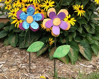 Metal Garden Art Flower Garden Stake Pink, Purple, and Blue Flower