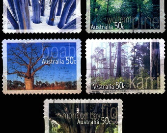 25 Used Australian Trees Postage Stamps - 5x5 Different