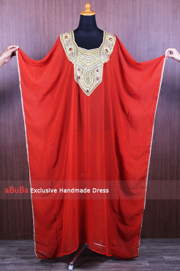 Moroccan Handmade Caftan Full Sequins Dubai Abaya Maxi Dress Premium Sheer Red Brick Chiffon Fit Up To Women Plus Size Wedding Dress
