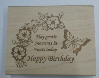 Gentle Momements Birthday Rubber Stamp - 127W03