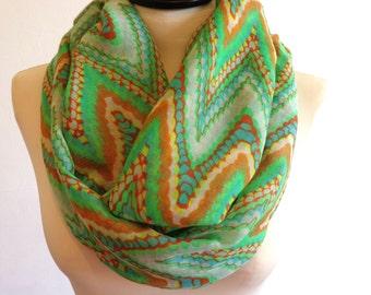 Chevron infinity scarf, zig zag scarf, chevron scarf, loop scarf, infinity chevron scarf, green chevron scarf