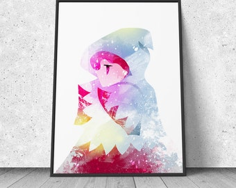 Final Fantasy, White Mage Fan Art, watercolor illustration, giclee art print, silhouette, wall decor
