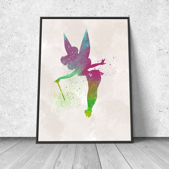 fairy tinkerbell peter pan watercolor illustration giclee. Black Bedroom Furniture Sets. Home Design Ideas